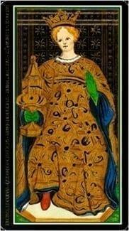 Карта Королева Чаш из колоды Таро Висконти