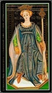 Карта Королева Жезлов из колоды Таро Висконти