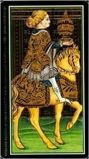 Карта Рыцарь Чаш из колоды Таро Висконти