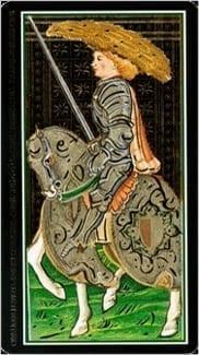 Карта Рыцарь Мечей из колоды Таро Висконти