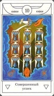 Карта Десятка Чаш из колоды Таро Золотого рассвета
