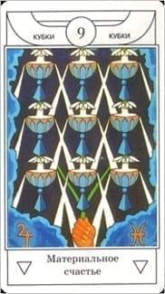 Карта Девятка Чаш из колоды Таро Золотого рассвета