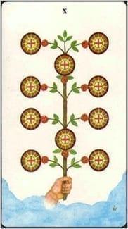 Карта Десятка  Пентаклей из колоды Таро Золотой зари
