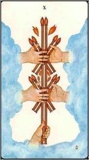 Карта Десятка Жезлов из колоды Таро Золотой зари