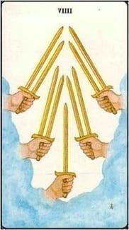 Карта Девятка Мечей из колоды Таро Золотой зари