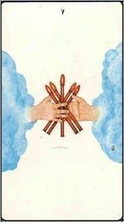 Карта Пятерка Жезлов из колоды Таро Золотой зари
