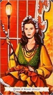 Карта Королева Жезлов из колоды Цыганское Таро
