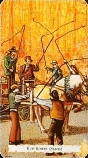 Карта Шестерка Жезлов из колоды Цыганское Таро
