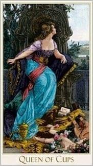 Карта Королева Чаш из колоды Викторианское Таро