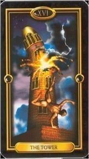 Карта Башня из колоды Золотое Таро