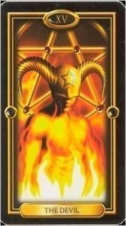 Карта Карта Дьявол из колоды  Золотое Таро