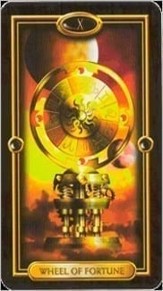 Карта Колесо Фортуны из колоды Золотое Таро