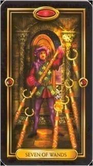 Карта Семерка Жезлов из колоды Золотое Таро