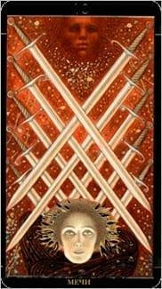 Карта Десятка Мечей из колоды Золотое Таро Климта