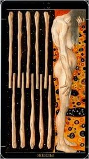 Карта Десятка Жезлов из колоды Золотое Таро Климта