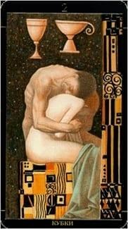 Карта Двойка Чаш из колоды Золотое Таро Климта