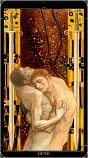 Карта Двойка Мечей из колоды Золотое Таро Климта