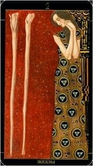 Карта Двойка Жезлов из колоды Золотое Таро Климта