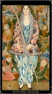 Карта Королева Жезлов из колоды Золотое Таро Климта