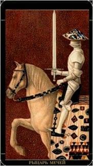 Карта Рыцарь Мечей из колоды Золотое Таро Климта
