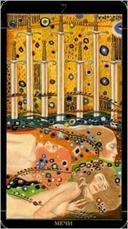Карта Семерка Мечей из колоды Золотое Таро Климта