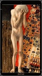 Карта Шут (Дурак) из колоды Золотое Таро Климта