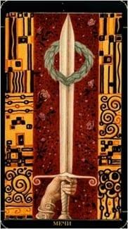 Карта Туз Мечей из колоды Золотое Таро Климта