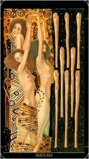 Карта Восьмерка Жезлов из колоды Золотое Таро Климта
